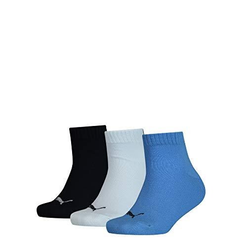 PUMA Kids' Quarter Socks (3 Pack) Chaussettes, Marina, 31-34 (Lot de 3) Mixte Enfant