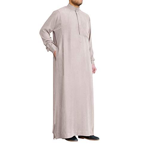 Hommes Musulmane Robes Couleur Unie - Col Debout Manches Longues Arabe Thobe Caftan Vêtement...