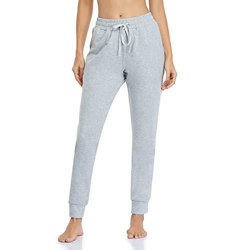 Vimbloom Pantalon de Jogging Femme Coton Longue Pantalon de Sport avec Poches Pantalon de Survêtement pour Jogging Fitness Casual VI946(Gris,M)