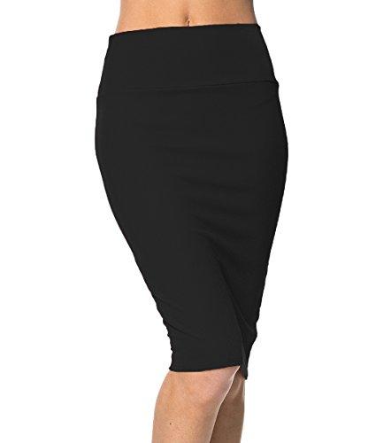 Urban GoCo Femme Midi Jupe Crayon Moulant Elastiquée avec Taille Haute Bodycon (M, Noir) prix et achat