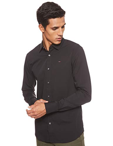 Tommy Jeans Homme Original Stretch Chemise Casual Manches Longues coupe slim Noir (Tommy Black...