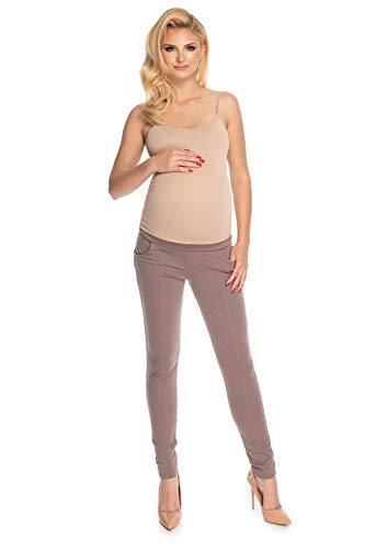 Selente Mummy Love Pantalons/treggins Grossesse Femme Automne/Hiver avec Ceinture extraélastique, Cappuccino treggins, L-XL