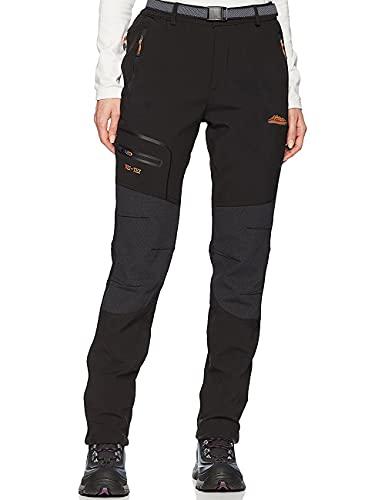 DAFENP Pantalon Randonnee Femme Imperméable Pantalon de Travail Cargo Femme Ete Pantalon Montagne Softshell Outdoor Séchage Rapide Leger KZ1816W-Black-L