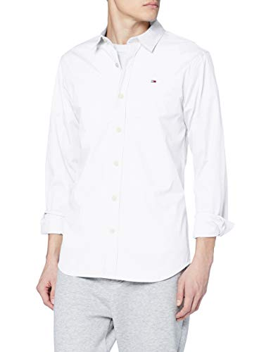 Tommy Jeans Homme Original Stretch Chemise Casual Manches Longues coupe slim Blanc (Classic...