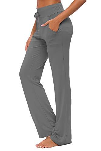 OURCAN Pantalon de Yoga pour Femmes avec Poches, Jambe Large, Cordon de Serrage lâche, Salon Droit, Course à Pied, Pantalon Modal, Pantalons de survêtement décontractés Actifs (Gris foncé, L) prix et achat