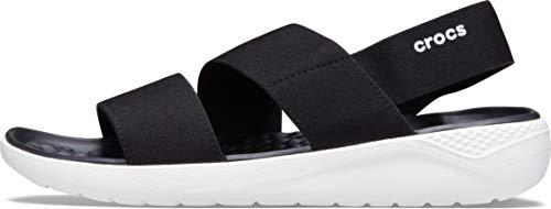 Crocs LiteRide Stretch Sandal, Bout Ouvert Femme, Black/White, 34/35 EU