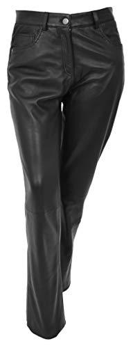House of Leather Femmes Véritable Cuir Pantalon Mince Fit Décontractée Jeans Noir (40)
