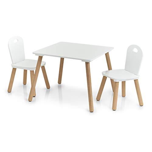 Zeller Scandi Salon de Jardin 3 pièces en Bois pour Enfant Table : 55 x 55 x 43,5 cm Chaise : 28 x 28 x 50 cm