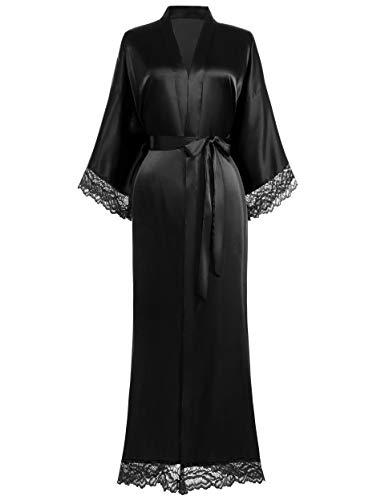 Coucoland Kimono Robe de chambre longue en satin avec bordure en dentelle pour femme - - Taille...