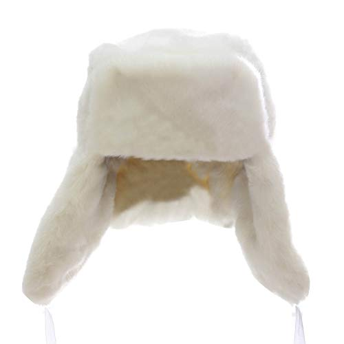 LaoZanA Unisexe Hiver Chapeau Chapka en Fausse Fourrure Style Russe Blanc