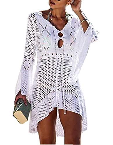 Femmes Robe de Plage Manches Évasées Maillot de Bain Sexy Tricot ajouré au Crochet Taille Tunique Cache-Maillots Bikini Poncho Blouse Été Cover Up(White) prix et achat