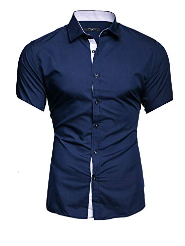 Kayhan Homme Chemise Manches Courtes, Florida Navy (M)