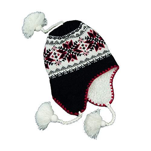 Bonnet péruvien doublé en Peluche très Chaude 100% Acrylique Taille Unique 58cm Environ Doublure Chullo pérou Hiver Chaud Pompon Femmes Hommes Mixte réf:2805 (Noir)