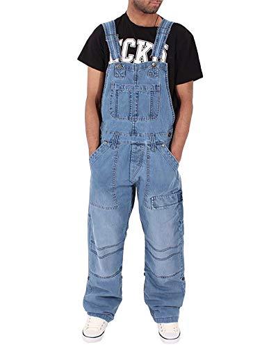 Homme Jeans Salopette Revers Pantalon en Denim Skinny Regular Combinaisons De Rue À La Mode Bleu Clair 3XL