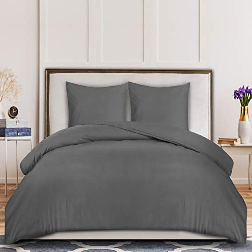 Utopia Bedding Housse de Couette avec Taies d'oreiller - Parure de Lit 2 Personnes avec Fermeture Éclair - Sets de Housse Couette en Microfibre (200x200cm + 2 x Taie Oreiller 80x80cm, Gris)