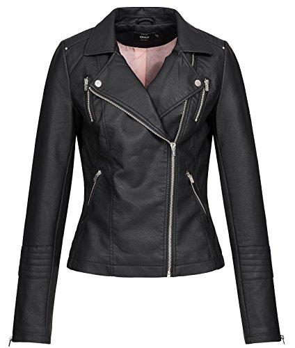 Only Onlgemma Faux Leather Biker OTW Noos Blouson, Noir (Black Black), Medium (Taille...