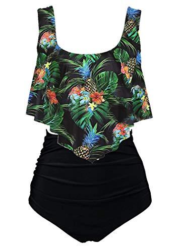 Aidotop Maillots de Bain Femmes 2 Pieces à Volants Vintage Taille Haute Plage Floral Slim Bikini Set(10black Pineapple,UK 38-40(M))