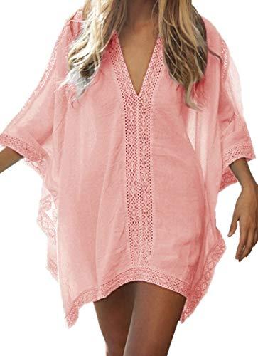 Walant Robe de Plage pour Femmes V-Cou Bikini Cache-Maillots Taille Unique Coton mélangé...