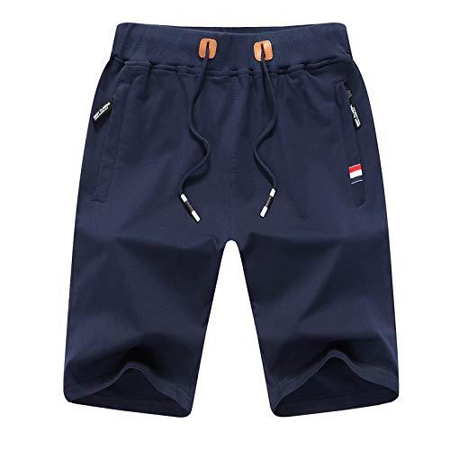 JustSun Short Sport Homme Running Coton Short de Sport Hommes avec Poches Zippées et Taille élastique Bleu X-Large prix et achat