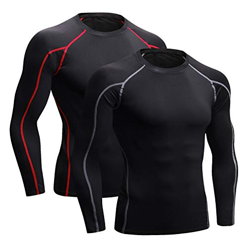 Niksa Lot de 2 Tee Shirt Compression Homme Manches Longues Maillot Compression Running...