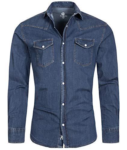 Rock Creek Chemise en jean pour homme, coupe droite, manches longues, S-XXL - Bleu - Medium