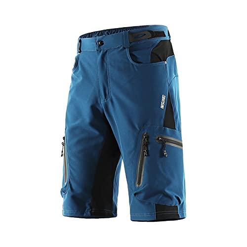 ARSUXEO Short de Cyclisme pour Homme Coupe Ample VTT Short de Montagne résistant à l'eau Bas de Sport de Plein air 1202 Bleu foncé M