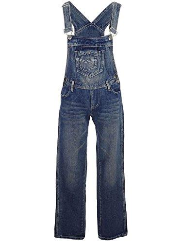 ANNA-KACI Les Femmes Denim Jeans Bleu Poches Jambe Droite de Salopette