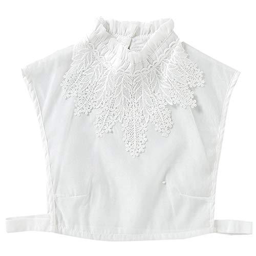 JOYKK Femmes Fille Chemisier Faux Volants Col Montant Au Crochet Floral Dentelle Applique...