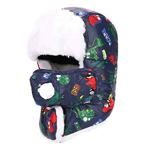 Bonnet d'hiver Garçon Fille Chapeau de Ski Extérieur Épais Chaud Enfant Bonnet Cache-Oreilles et Tour de Cou 3 en 1 Cagoule Chapka avec Cache-visage Détachable Anti-poussière et Froid Coupe vent