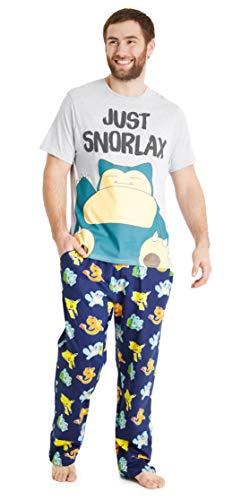 Pokemon Pyjama Homme, Ensembles De Pyjama Hommes avec T Shirt Ronflex Et Pantalon en Coton Taille Élastique Pikachu, Salamèche, Bulbizarre Et Carapuce (Multi, M)