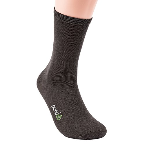 pandoo Lot de 6 paires de chaussettes unisexes en bambou - Pour le bureau, le sport et les loisirs - Respirantes, anti-transpiration, taille confortable, anti-odeurs - Gris - 35-38