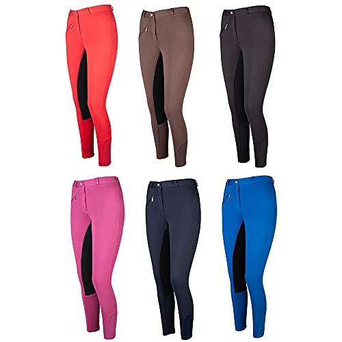 """PFIFF 102290 pantalon d'équitation pour femmes """"Thea"""", culotte avec fond en cuir, Noir 40"""
