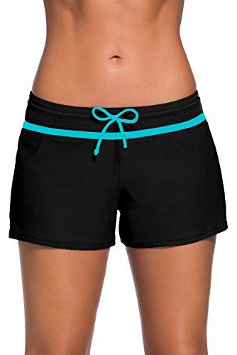 Short de Bain Femme Bas de Maillot de Bain Shorty Sport Shorts de Plage avec Cordon, Noir Bleu...