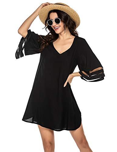 Balancora Robe de plage d'été pour femme - Bikini - Tunique de plage - Boho - Caftan - Taille S à XXL, 1 - Noir, XXL /grande taille prix et achat