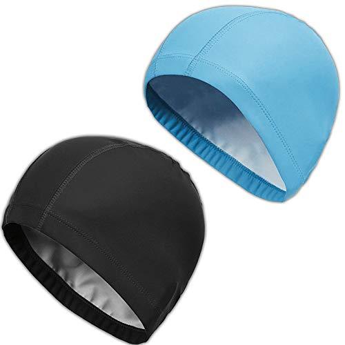 2pcs Bonnet de Bain Piscine Natation pour Adulte Bonnet de Bain Tissu PU Souple Bonnet de Natation pour Mixte Adulte Hommes Femmes (Noir+Bleu)