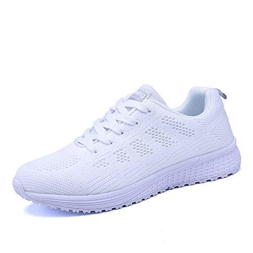 Vinstoken Femmes Baskets de Courses Basses Athlétique Marche Filets Chaussures Sport Run Blanc...