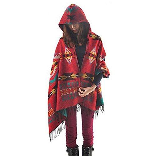 LATH.PIN Mélange de laine à capuche cape Blanket Manteau Cape Echarpe Epaisse Poncho de...