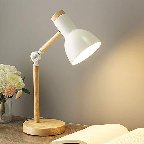 Chao Zan Lampe de table E27 Lampe de lecture LED au design classique en bois,lampe d'étude,lampe de table réglable,lampe à bras réglable, lampe de bureau, lampe de chevet,lampe de travail - blanc