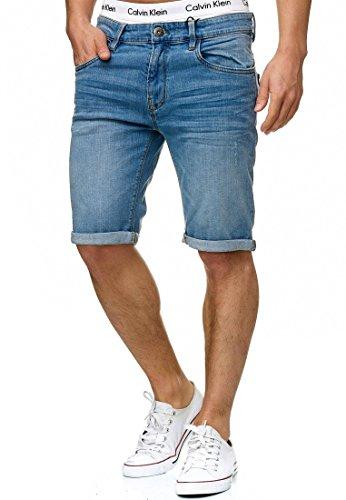Indicode Homme Caden Short en Jean avec 5 Poches 98% Coton | Court Denim Stretch Pantalon Used Look Washed Destroyed Regular Fit Men Pants De Loisirs pour Homme Blue Wash XXL
