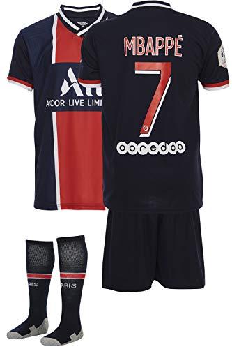 AMD SPORTS Paris 2020-21 Home Maillots de Football pour Enfants Mbappe avec des Chaussettes Et...
