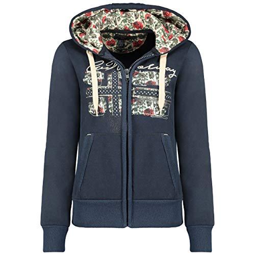GEO NORWAY FABEAUTE Lady - Sweat-Shirt Femme Capuche Fermeture Poches - Sweatshirt Femmes Pull Casual Manches Longues Chaud - Hoodie Veste Tops Sport Confortable Marine - XL