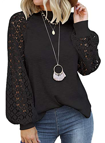Miholl Chemisier, blouse ample à manches longues en dentelle pour femmes - noir - Taille XL