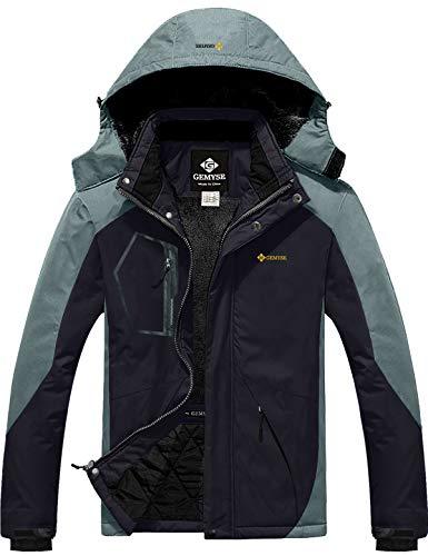 GEMYSE Homme Veste de Ski Imperméable de Montagne Manteau d'hiver Extérieur en Polaire Coupe-Vent avec Capuche (Gris Noir,L)