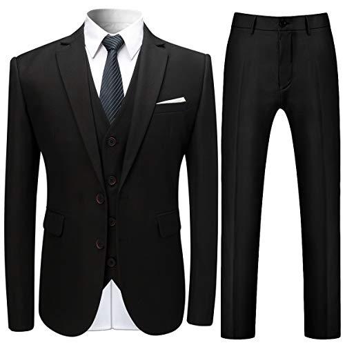 Costume Trois-pièces Homme Veste+Gilet+Pantalon de Couleur Unie Business Mode Slim Fit Formel...