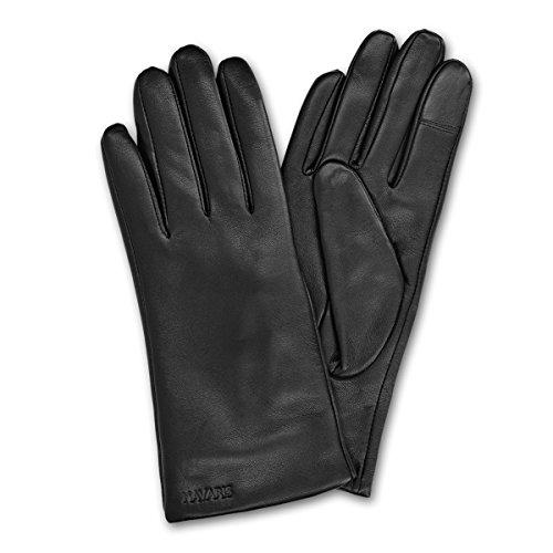 Navaris Gant tactile femme - Paire de gants en cuir agneau avec doublure cachemire pour écran tactile téléphone - Différentes couleurs et tailles prix et achat