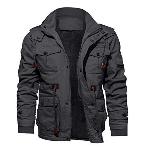 KEFITEVD Manteau de Pilote Militaire en Molleton Militaire à Capuche en Hiver pour Hommes avec Capuche Gris Foncé prix et achat