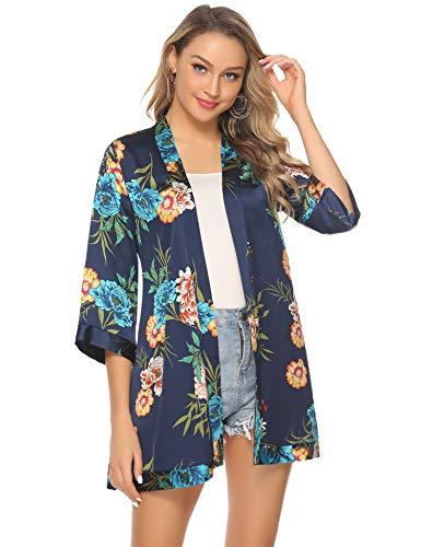 Veste Fleuri Femme Cardigan Fluide Gilet Kimono avec Ceinture Léger Imprimé Casual Ourlet 3/4...