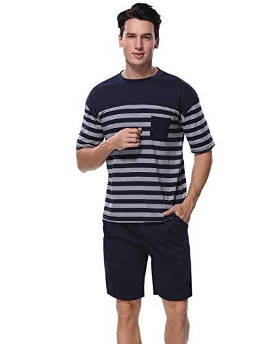 Abollria 100% Coton Pyjama Hommes Manches Courtes Vêtements de Nuit pour Ete Ensembles de...