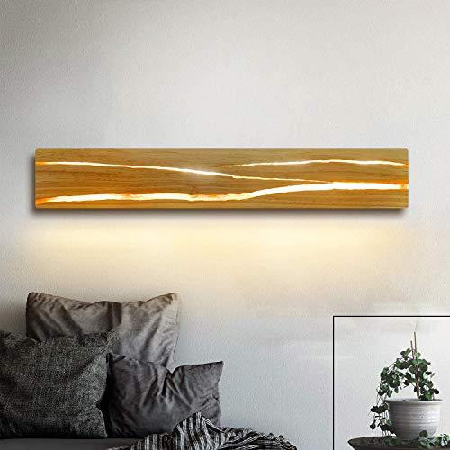 ZMH Applique Murale Interieur Lampe Murale Chambre en Bois - 3000K LED Blanc Chaud 8W Rotative Lampe de Nuit Couloir avec Interrupteur Luminaires Intérieur pour Bar Escalier Café Salon 50CM