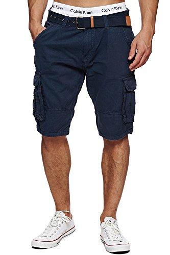 Indicode Homme Monroe Cargo ZA Short avec 6 Poches et Ceinture 100% Coton | Court Pantalon...